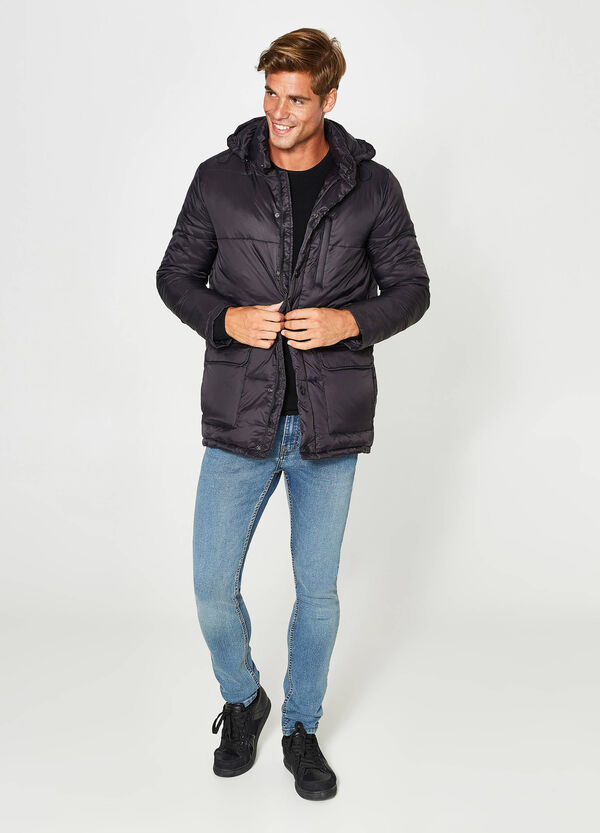 Jacket with high neck and hood