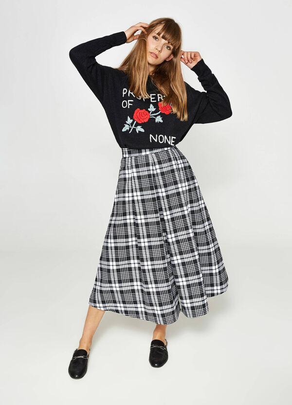 Full skirt in check cotton