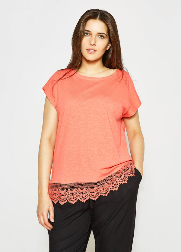 Curvy cotton T-shirt with lace   OVS