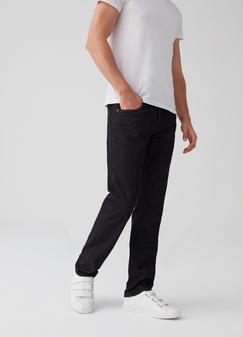 Solid colour regular-fit jeans image number null