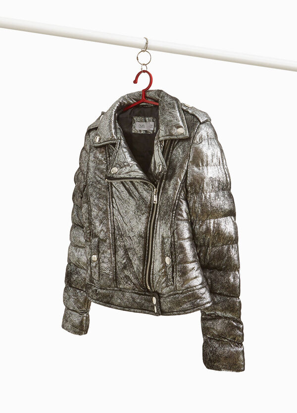 Misdyed-effect glossy stretch down jacket