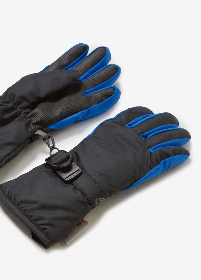 Two-tone snow gloves with adjustable fastening