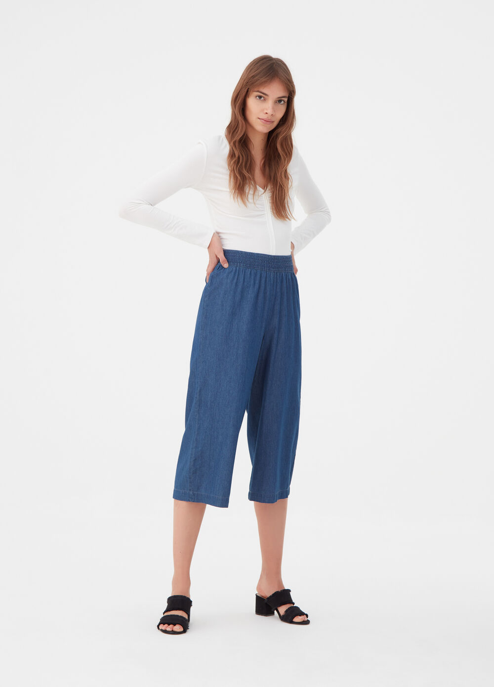 Crop palazzo jeans with high waist