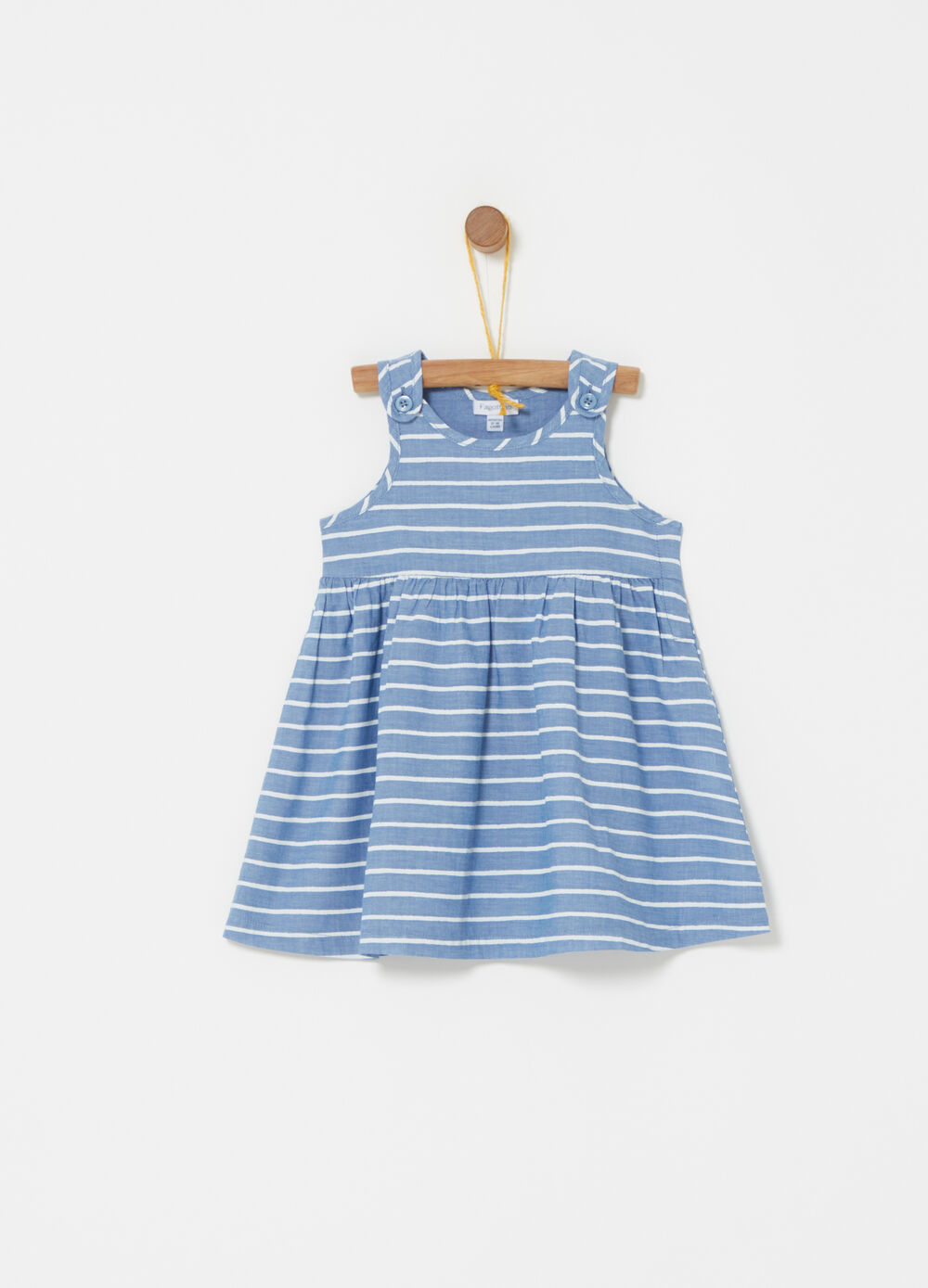 Sleeveless dress with striped flounce