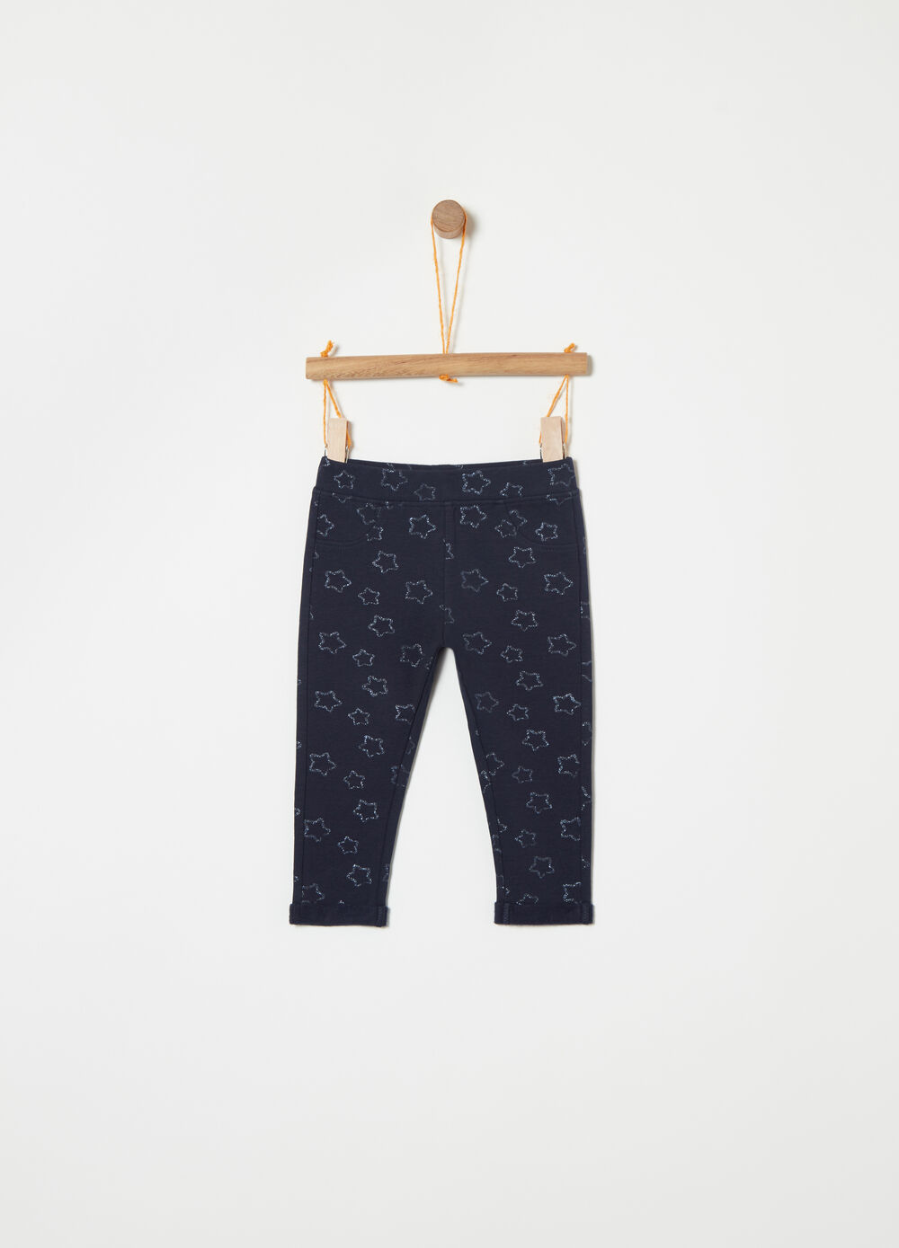 Stretch fleece trousers with glitter pattern