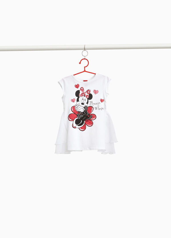 Stretch T-shirt with flounce on the back