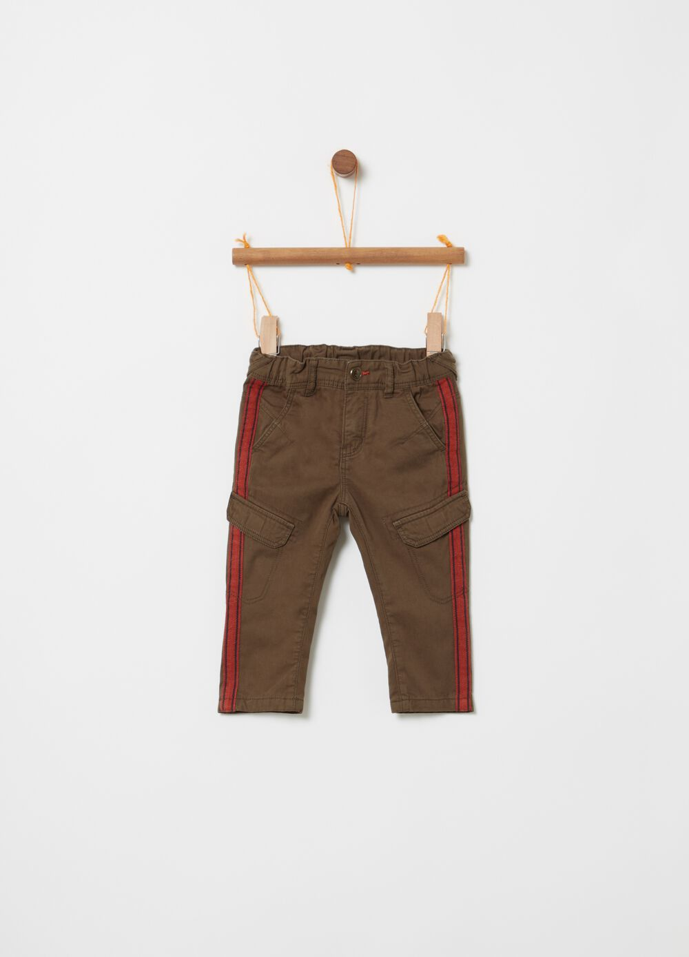 Twill cargo trousers with jersey lining