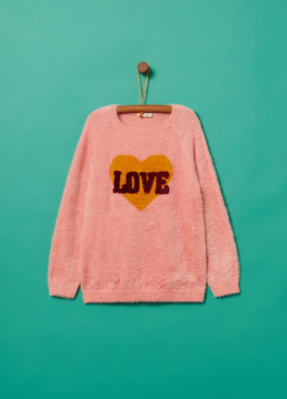 Fur-effect top with heart embroidery