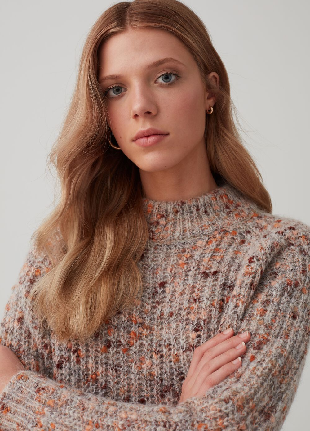 Knitted top with high neck