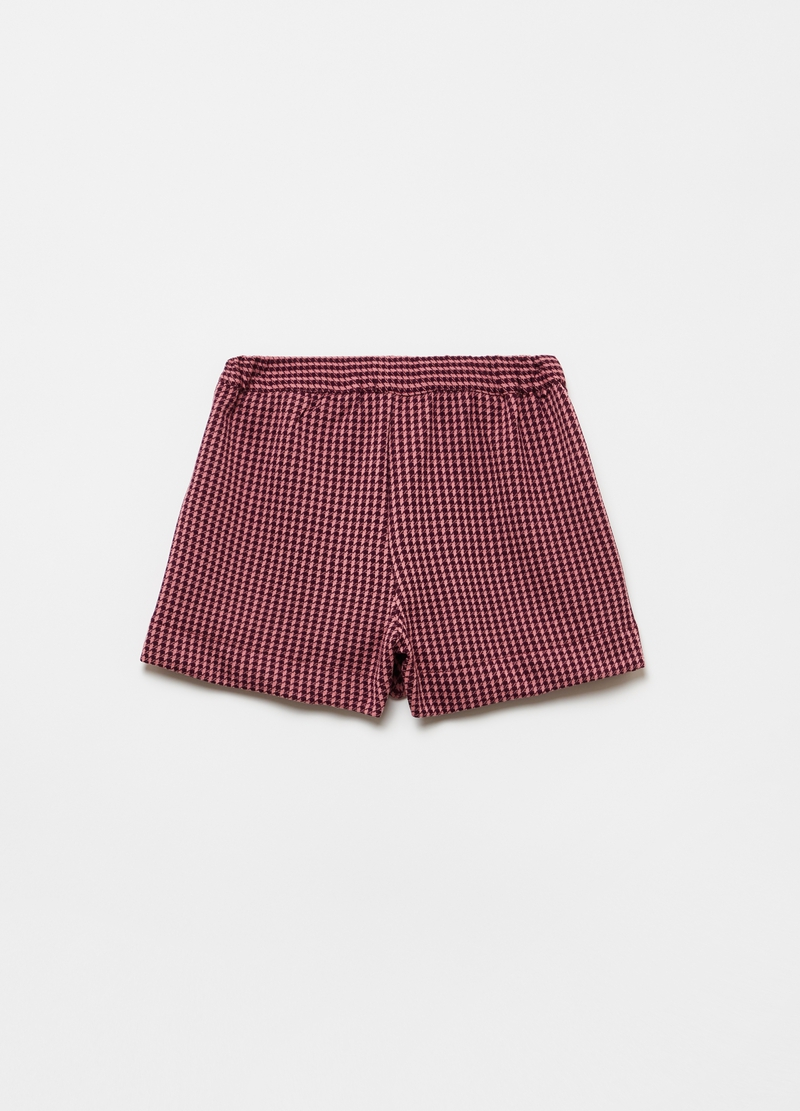 Stretch shorts with houndstooth pattern image number null