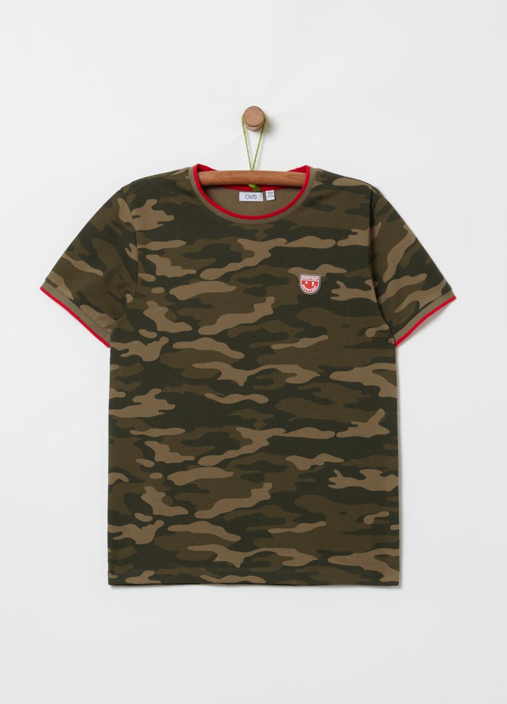 Camouflage T-shirt in stretch cotton