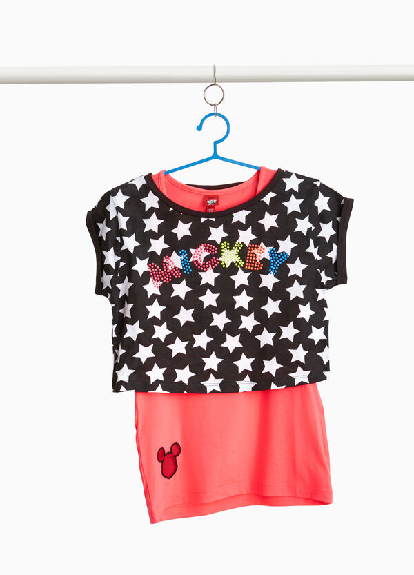 T-shirt stelle finto doppio Mickey Mouse