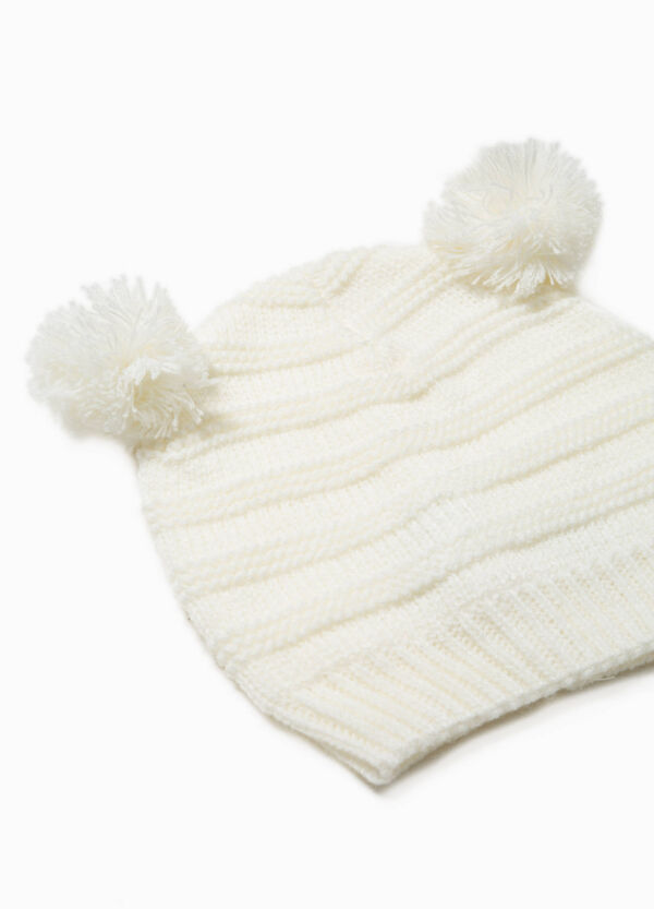 Hat with striped weave and pompoms | OVS