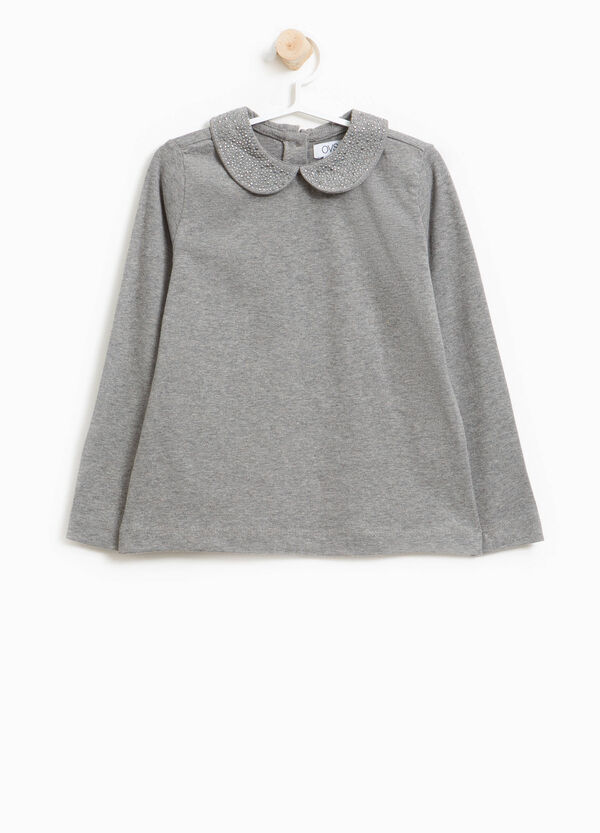 Stretch cotton polo shirt with round collar | OVS