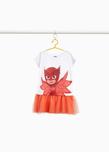 Stretch PJ Masks dress with tulle skirt