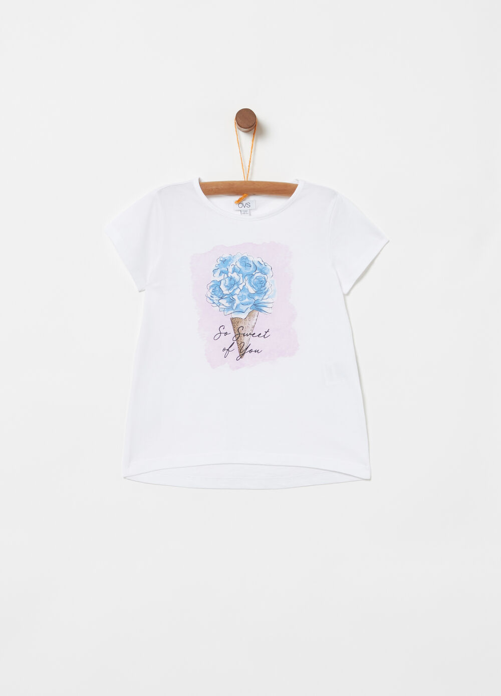 100% cotton T-shirt with glitter ice cream print