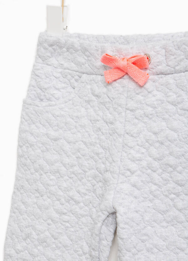 Trousers in stretch cotton with hearts weave | OVS