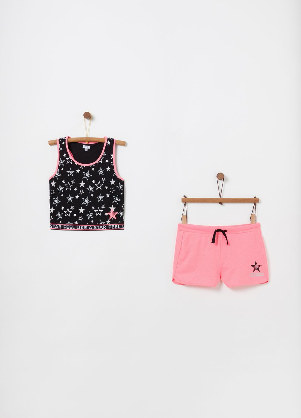 Jogging set top cropped e shorts stampa