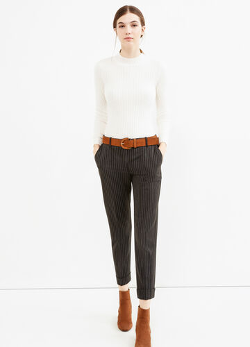 Stretch cropped chalk-stripe trousers