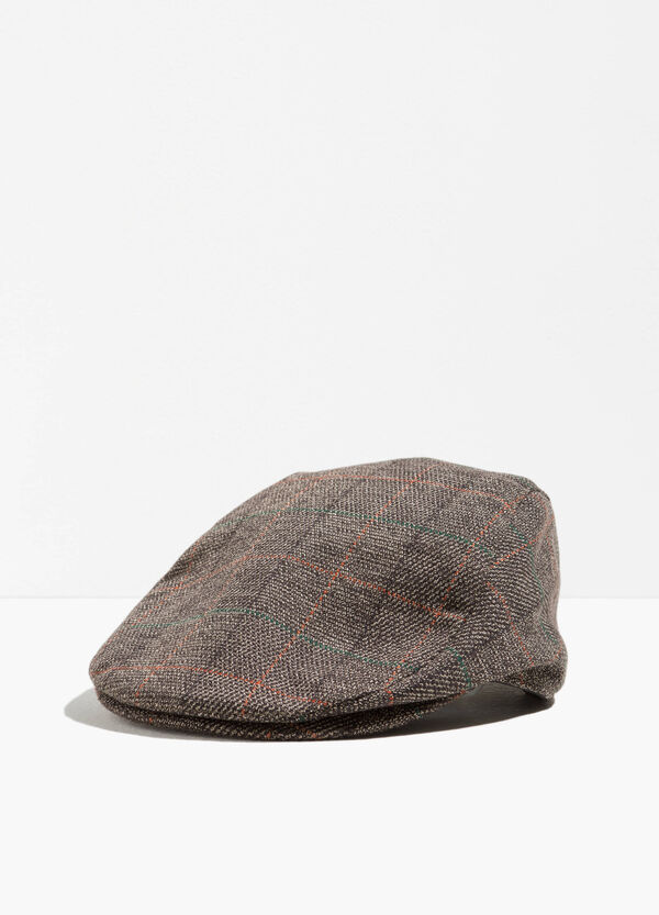 Flat cap with braided check weave | OVS