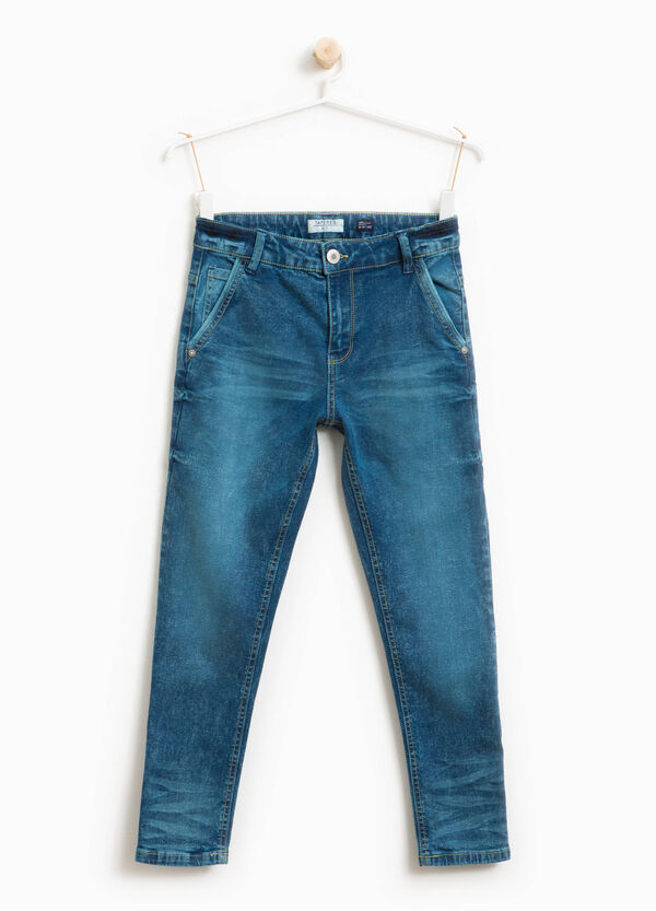Worn-effect jeans with whiskering | OVS