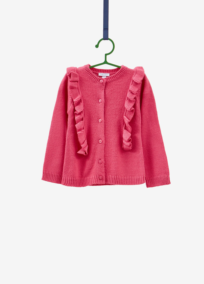 Knit cardigan with round neck and flounce