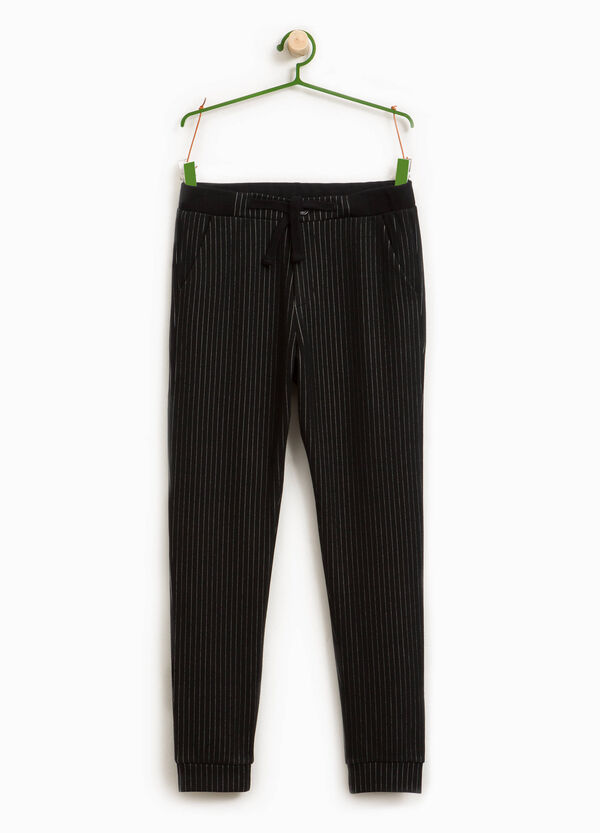 Stretch viscose blend trousers with stripes