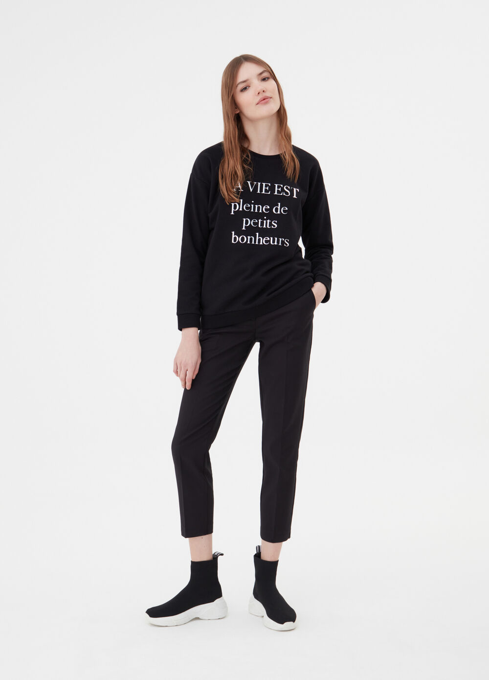 Sweatshirt with drop shoulder and lettering