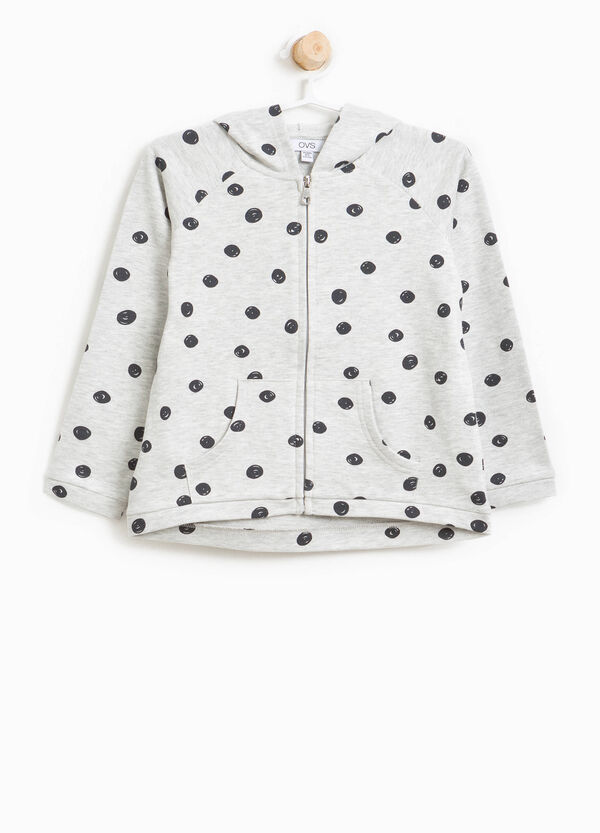 Cotton sweatshirt with all-over polka dot print | OVS