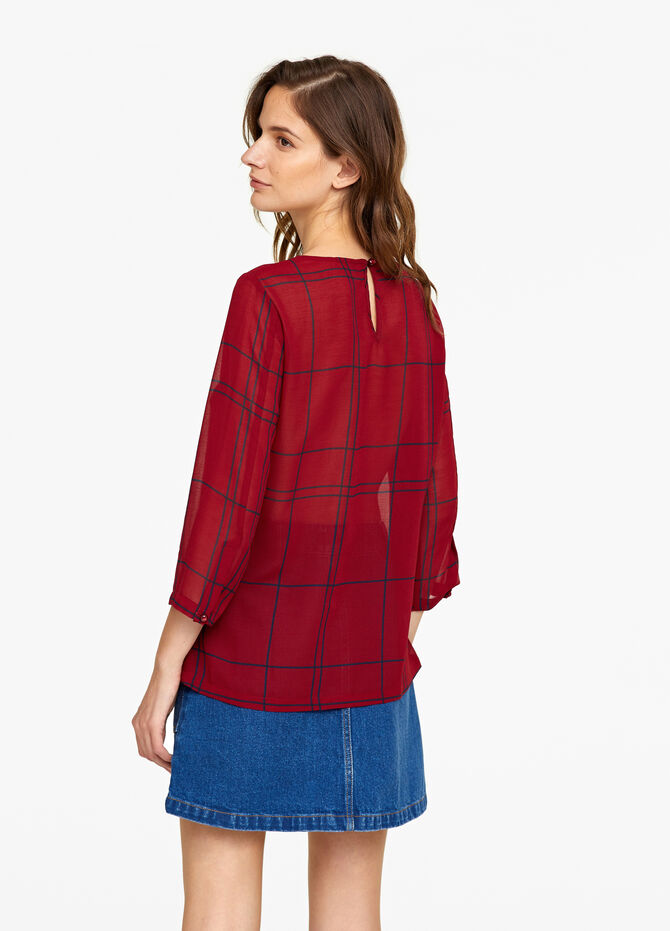 Three-quarter blouse with check pattern