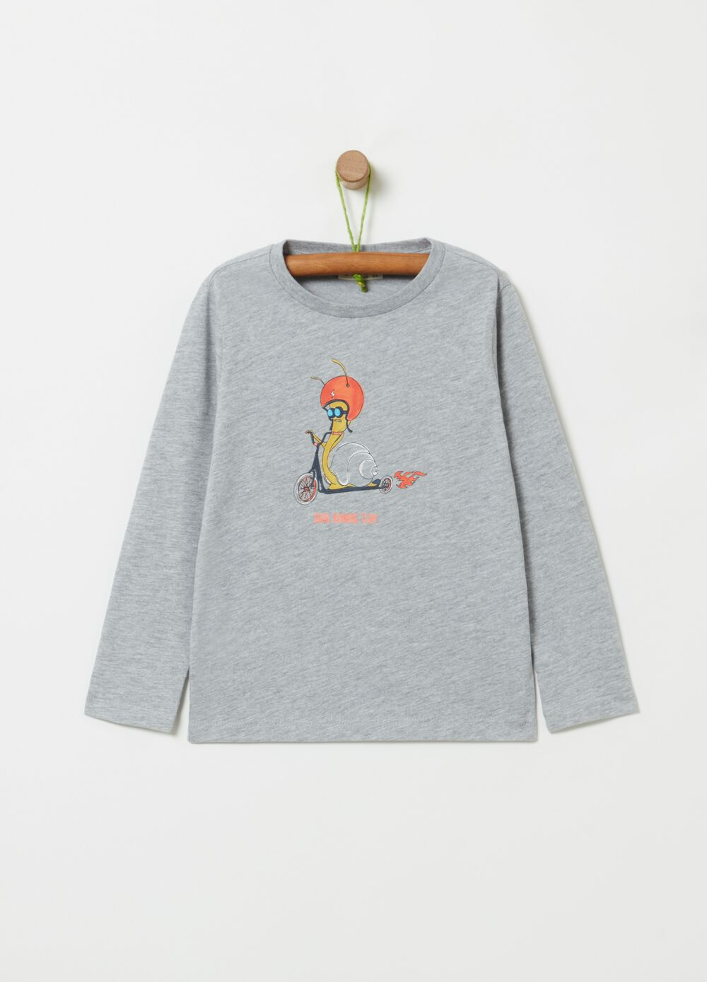 Viscose and organic cotton T-shirt with print