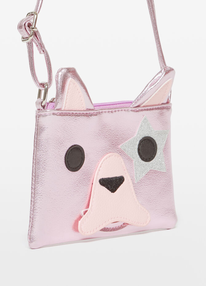 Shoulder bag with puppy embroidery and patches