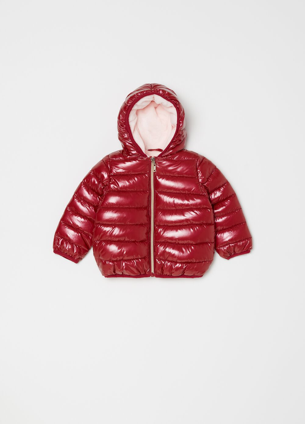 Solid colour padded and quilted jacket.