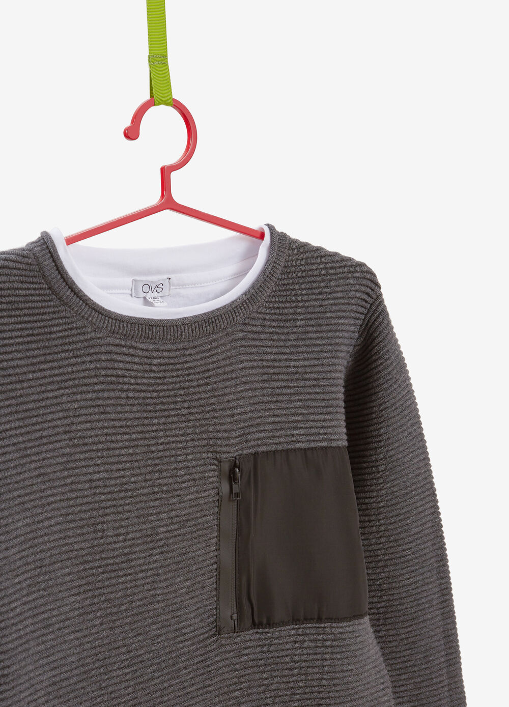 Faux layered knitted cotton pullover