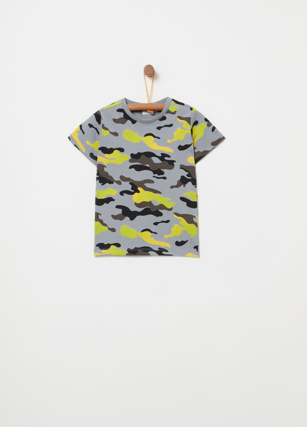 T-shirt with all-over camouflage print