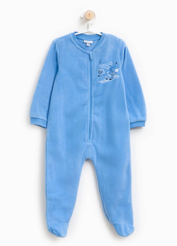 Onesie with feet and animal embroidery