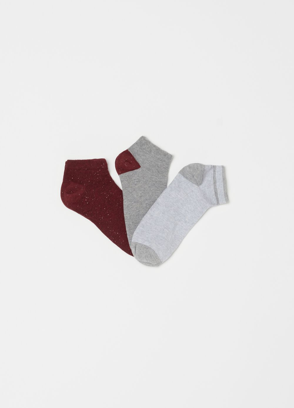 Three-pack short stretch socks with pattern