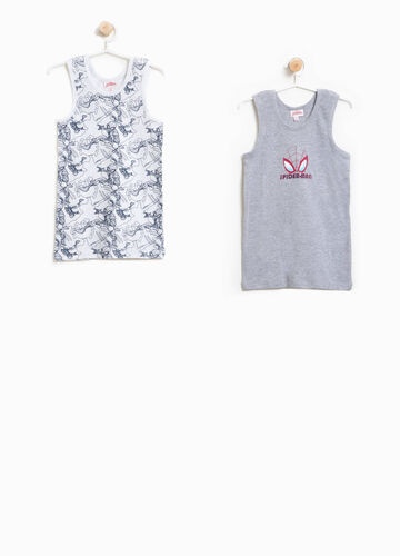 Two-pack cotton Spiderman vest tops