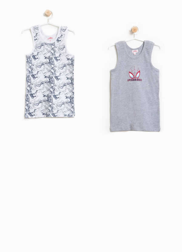 Two-pack cotton Spiderman vest tops   OVS
