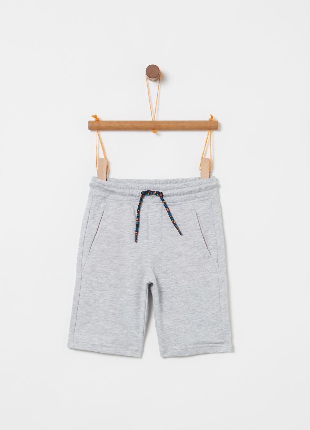 Terry towelling mélange shorts with drawstring waist and print