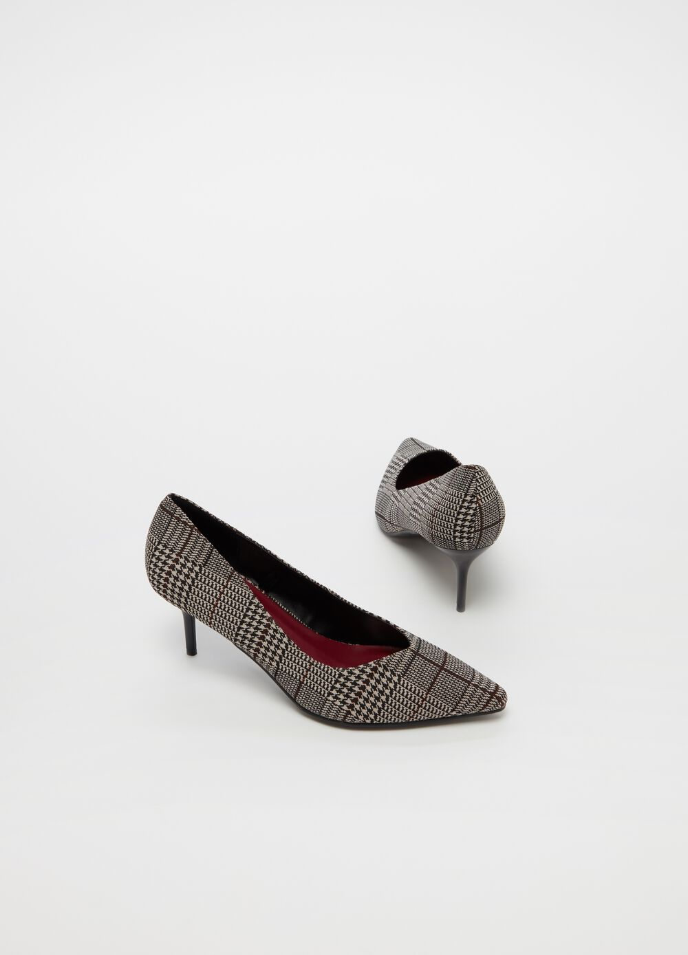 Check court shoe with stiletto heel