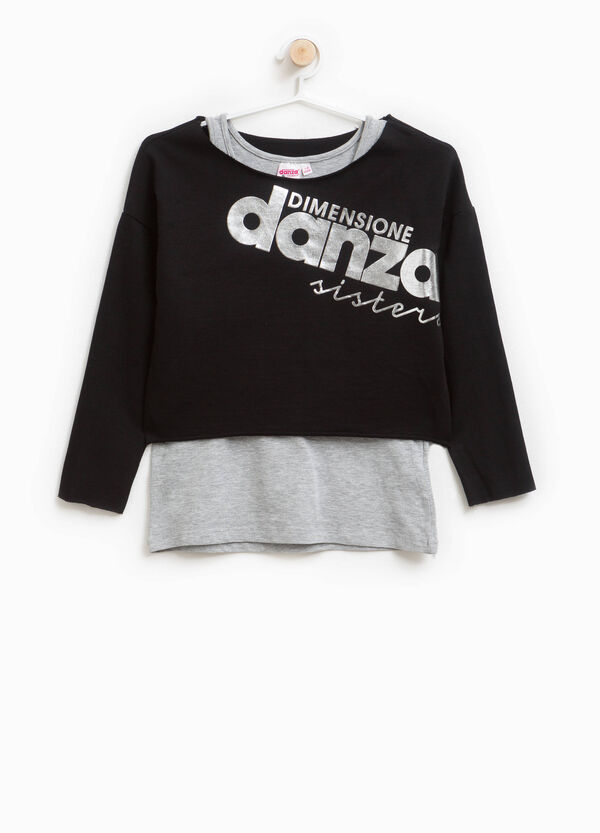 Sweatshirt in stretch cotton with printed lettering | OVS