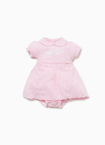 100% cotton romper suit with openwork embroidery