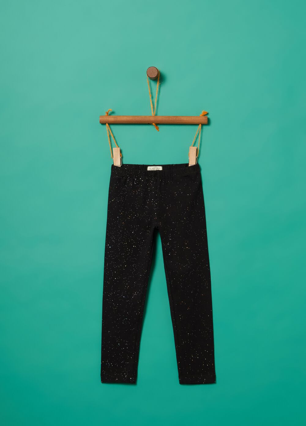 Stretch cotton leggings with glitter