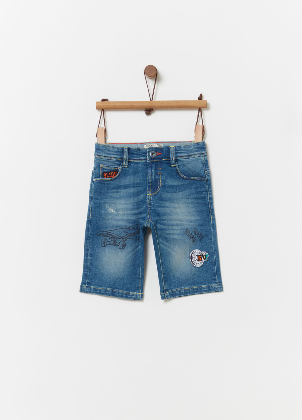 Denim shorts with faded effect and embroidery