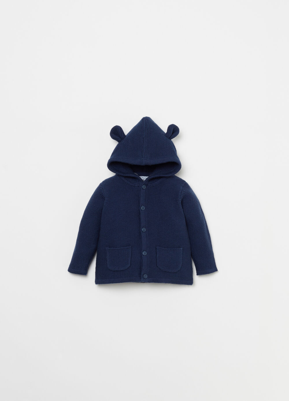 Cotton cardigan with hood and ears