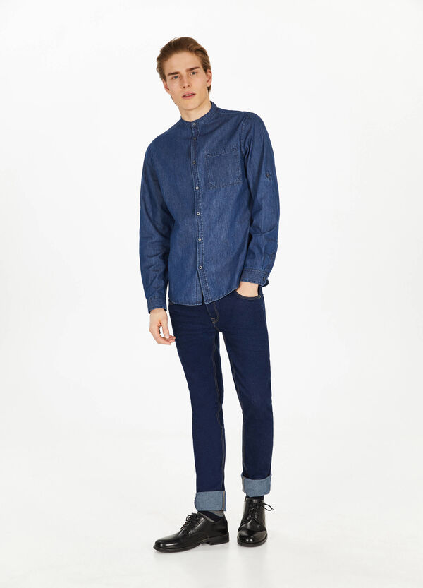 Denim casual shirt with mandarin collar