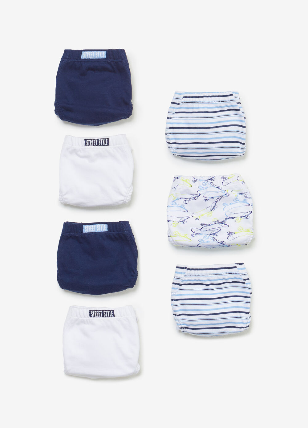Seven-pack striped and solid colour cotton briefs