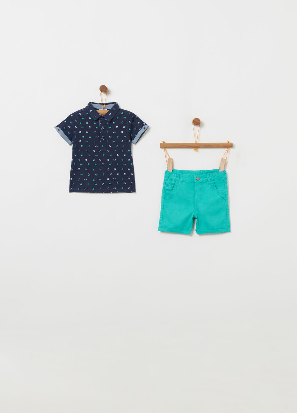 Polo shirt with pattern and Bermuda shorts set