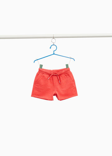 Stretch cotton glitter shorts with striped weave